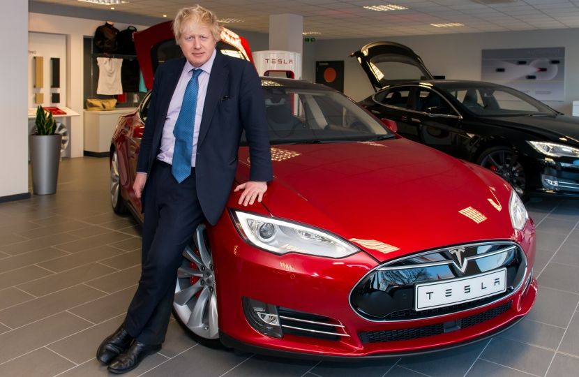 Boris Johnson at Tesla Motors, Yiewsley